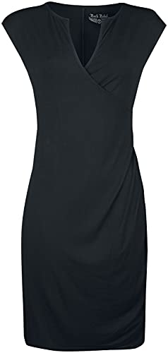 Rock Rebel by EMP Vestido Rock Rebel con diseño Envolvente Mujer Vestidos de Longitud Media Negro S
