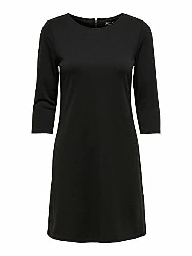Only Onlbrilliant 3/4 Dress Jrs Noos Vestido, Negro (Black Black), Medium para Mujer