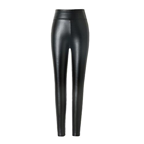 hitueu Leggings de Piel sintética para Mujer Leggings de Cintura Alta Pantalones Medias Leggins Treggins...