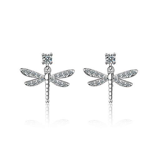 Pendientes de plata de ley 925 para mujer con diseño de libélula con circonita cúbica