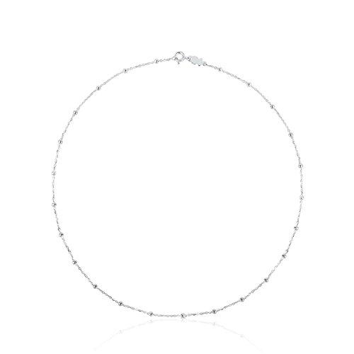 TOUS - Gargantilla Corta de Plata de Primera Ley con Detalles - 45,5 cm de Largo