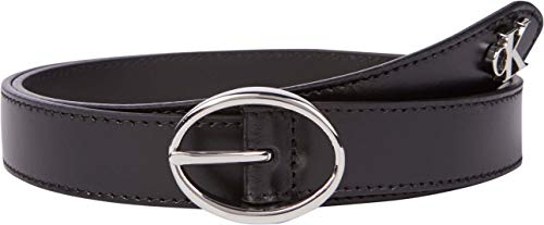 Calvin Klein Jeans Rounded Classic Belt 25MM Cinturn, Negro, 85 para Mujer