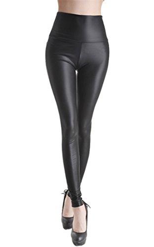 elástico de piel sintética PU Leggings Leggins de piel sintética PU-óptica, cadera de pantalones de piel...
