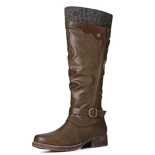 gracosy Botas de Mujer Otoño Invierno 2021 Tacon Bajo Zapatos Largas Botas Forrado de Piel Antideslizante...