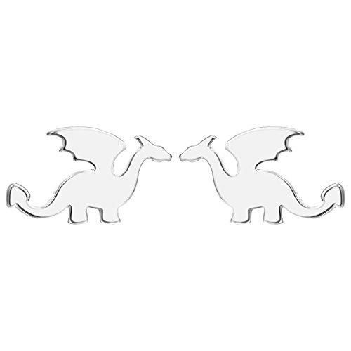 Antiguo período dragón pendientes studs plata Flying Animal Cool Punk joyería para adolescentes