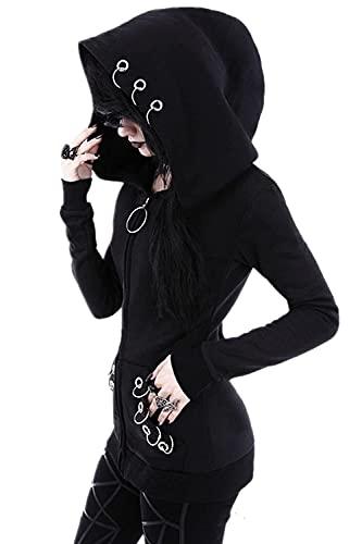 CNBOY Mujer Sudaderas con Capucha Cremallera Manga Larga Punk Chaqueta Abrigo Top (5XL, Negra)