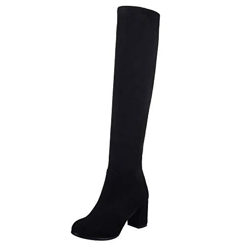 VulusValas Mujer Fashion Tacon Alto Rodilla Botas Black Size 39 Asian