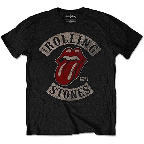 Rolling Stones Tour 78 Mens Blk TS Camiseta, Negro (Black), Large para Hombre