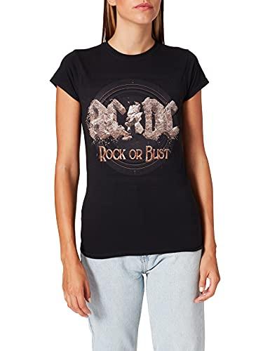 AC/DC Rock Or Bust Camiseta, Gris (Black Black), L para Mujer