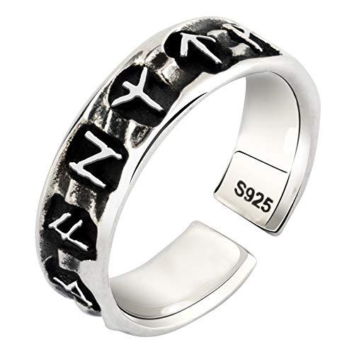 FORFOX Anillo de runas Vikingo nórdicas de Plata de Ley 925 para Hombres Mujeres Talla Ajustable 19-22