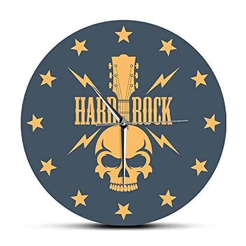 Reloj de Pared Hard Rock Skull con Guitarra y Estrellas Reloj de Pared acrílico Impreso a la Moda Indie Rock...