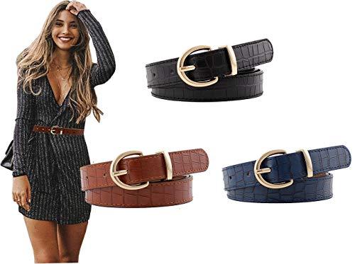 Longwu [3 paquetes] Cinturones de cuero para mujer Cinturón de jeans de piel sintética con patrón de...