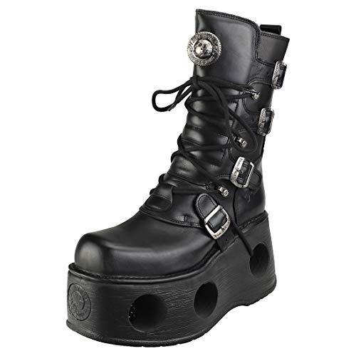 New Rock Metallic Negro Cuero Botas M.373-S2