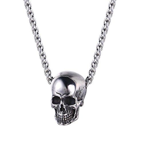 U7 Collar con Colgante de Cabeza de Calavera de Halloween, Acero Inoxidable, diseño de Ciclista gótico para...