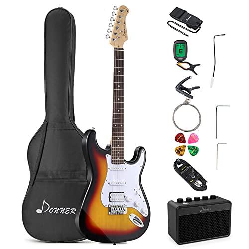 Donner Kit de Guitarra Eléctrica, S-S-H-Pickups, Guitarra Stratocaster de Tamaño Completo con Amplificador,...