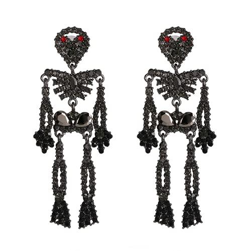 Pendientes de calavera para hombres pendientes de perno de acero inoxidable gótico Hip Hop joyería esqueleto...
