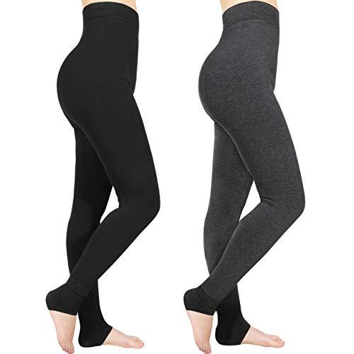 Emooqi Leggings Largas de Invierno para Mujer, Pack de 2 Leggings Cintura Alta, Leggings Térmicos Calientes...