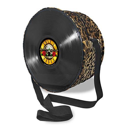 Mancha de Creación - Bolso hecho con discos de vinilo LP, tela leopardo y diseño Guns and roses, bolso...