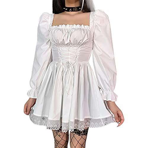 EveryLu Vestidos góticos Lolita vintage con ribete de encaje punk manga abullonada mini vestidos góticos,...
