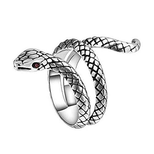 Aukmla Anillo vintage de serpiente de plata gótica punk anillo retro ajustable anillo abierto animal joyería...