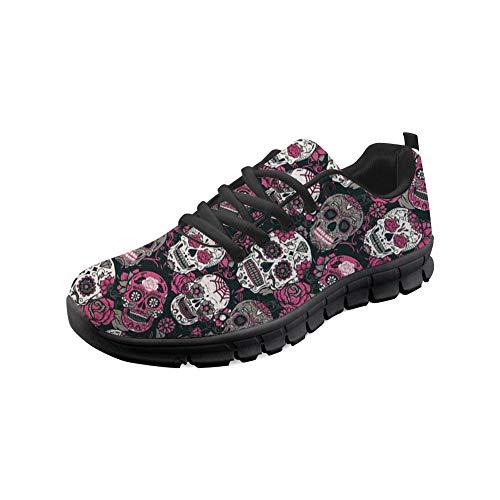 POLERO Skull Zapatillas de Deporte Unisex para Hombres y Mujeres con Estampado de Calavera Fresca Zapatillas...