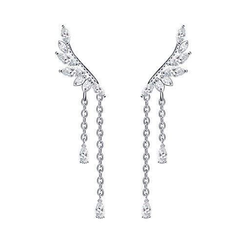 Pendientes de gancho QUKE, de plata de ley 925, en forma de alas de ángel con cristales de circonita