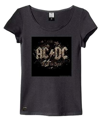 Amplified ACDC Rock Or Bust Cover Camiseta, Negro (Charcoal), Medium para Mujer