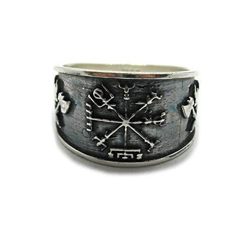 Anillo de plata de lay sólido 925 símbolo de vikingo vegvisir R001959 Empress