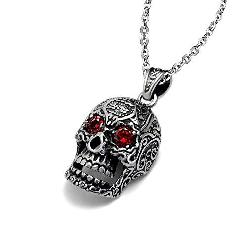 Collar con colgante de acero inoxidable Stayoung joyas para hombre, de esqueleto hueca, diseño gótico Meeny...