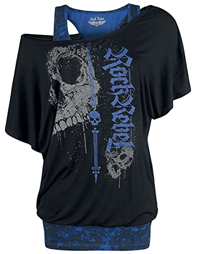 Rock Rebel by EMP When The Heart Rules The Mind Mujer Camiseta Negro/Azul M