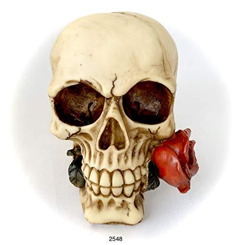 Escultura de Calavera Gótico Estatua Resina Halloween Estilo Horror (Calavera con Rosa)