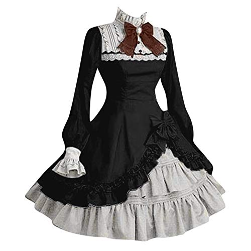 Vestido gótico para mujer, vestido de princesa Lolita, punk, vestido medieval, con volantes, estilo...