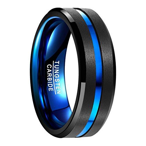 NUNCAD Anillo Hombre Mujere Unisexo Tungsteno Exterior Negro + Azul 8 mm Anillo Simple para Boda Compromiso...