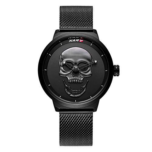 C-qing Relojes de Calavera de Moda para Hombres Reloj de Cuarzo analógico Negro Resistente al Agua Reloj de...