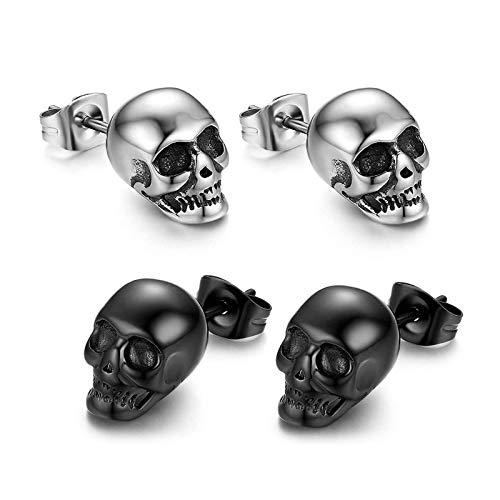 Calavera Piercing de oído Hombre Pendientes cráneo pendientes acero inoxidable Hip Hop Punk Jazz Pendientes...