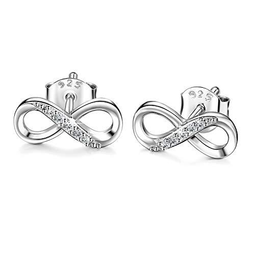 Billie Bijoux mujeres 925 pendientes de plata esterlina tachuelas infinito amor CZ joyería de diamantes para...