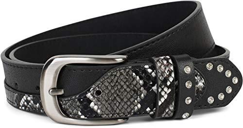 styleBREAKER cinturón de mujer con estrás y detalles en óptica de piel de serpiente, acortable 03010102,...