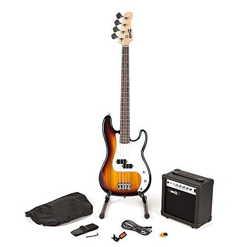RockJam Super Kit de bajo de tamaño completo con amplificador de guitarra, Sintonizador de guitarra, Soporte,...