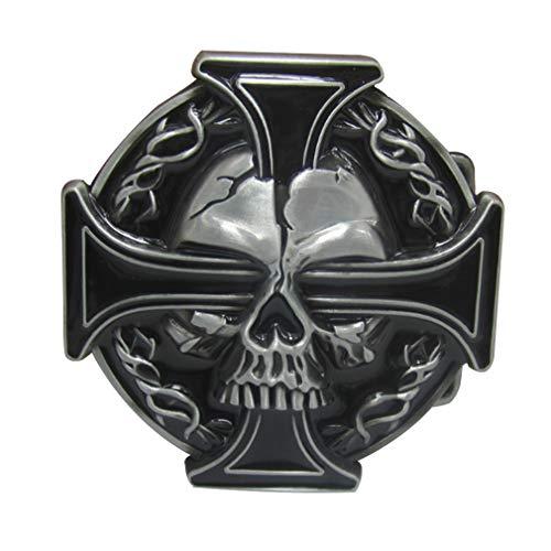 LKMY Hebilla de cinturón para hombre, calavera occidental y hebilla de cinturón de motociclista con cruz...