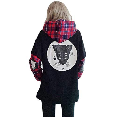 Black Sugar – Sudadera con capucha – Chaqueta de manga doble punk rock gótico negro bolsillo escocés...