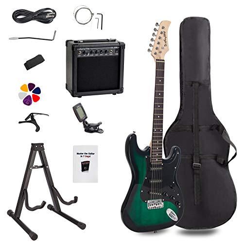 Display4top - Kit de guitarra eléctrica de tamaño completo para principiantes, incluye amplificador de 20 W,...