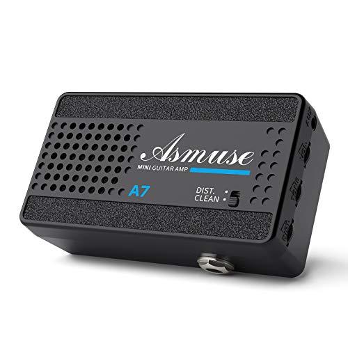 Asmuse Mini Amplificador de Guitarra Eléctrica Altavoz Portátil de 3W para Bajo, Amp Combo de 2 Canales...