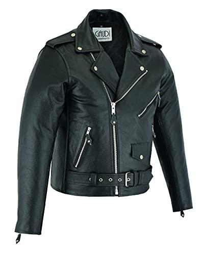 Gaudi-Leathers Brando - Chaqueta de piel para hombre, chaqueta de motero, color negro, Negro , M