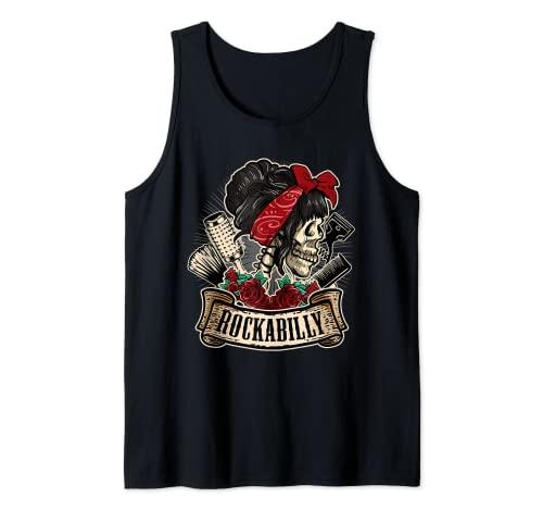 Rockabilly Girl Skull Pin-Up Estilista Peluquero Camiseta sin Mangas