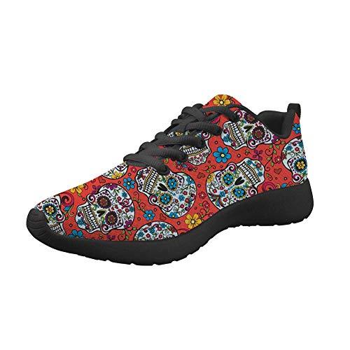 Woisttop Floral Estampado de Calavera Zapatillas de Deporte de Moda para Caminar Zapatos de Senderismo...