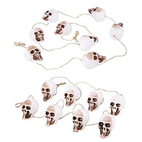 Decoraciones calaveras Halloween,mini colgante cabezas realistas 2 cuerdas con 8 calaveras esqueleto,bromas...