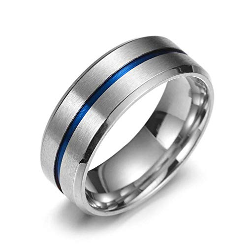 Anillos de tungsteno para hombre, con incrustaciones de surcos azules de alto pulido, ajuste cómodo, tamaño...