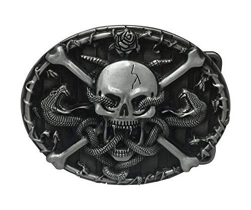 Hebilla para cinturón de serpientes y calavera pirata.