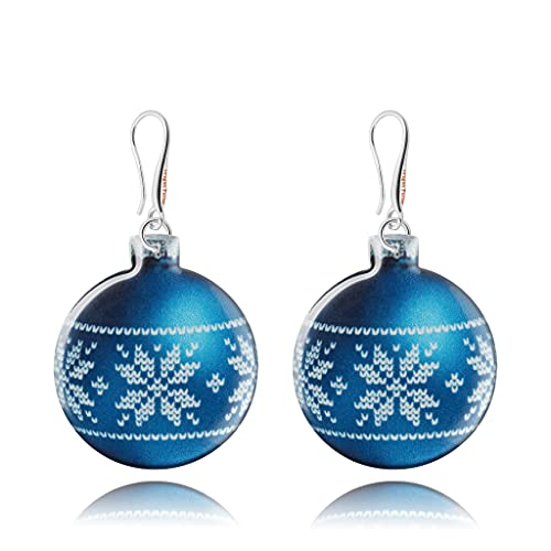 Pendientes Colgantes Divertidos Juguete de Navidad Azul Prusia y Plata; Regalo Gracioso de Noche Vieja para...