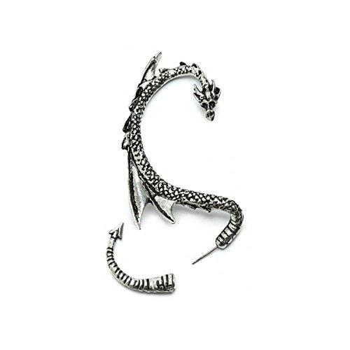Dragón Pendientes manguito de oreja   con tonos plateados   by Serebra Jewelry (Oreja derecha)